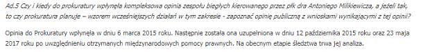 Odpowiedź zastępcy prokuratora generalnego - Marka Pasionka na zapytanie posła PO - Marcina Kierwińskiego