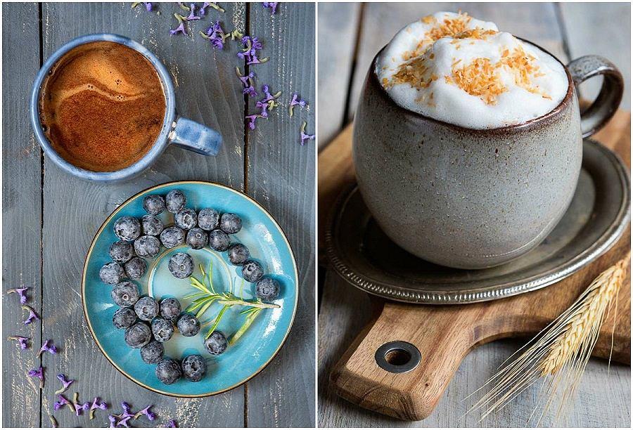 Przepis na napój kawowy z borówką i czekoladą i Kokosową chmurkę