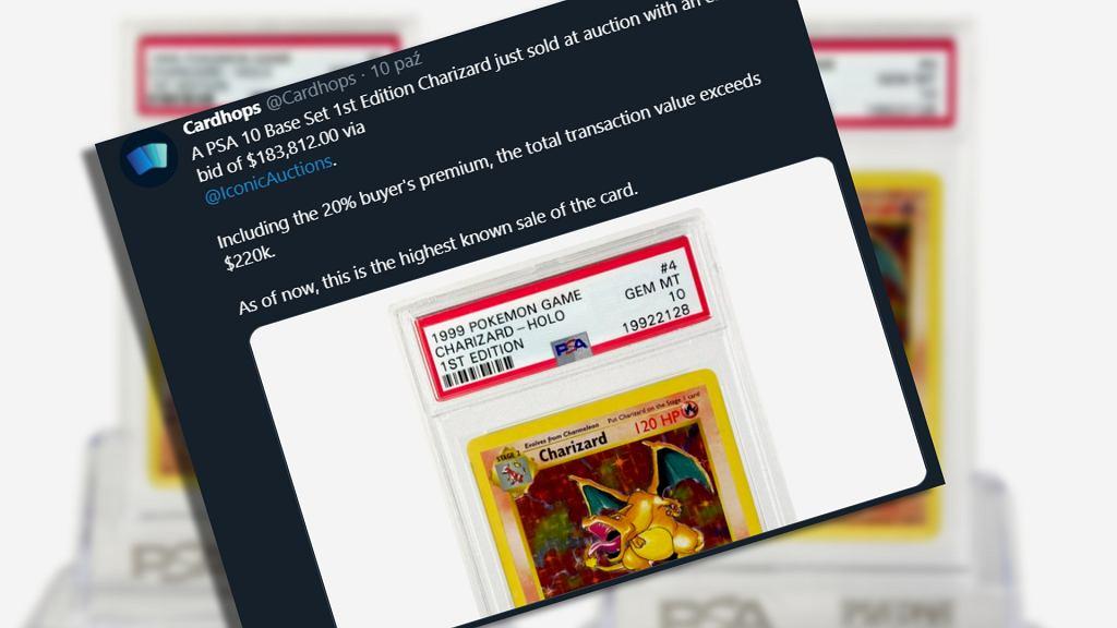 Karta Charizarda sprzedana za 185 tys. dol