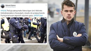 Michał Kołodziejczak zatrzymany podczas protestu rolników
