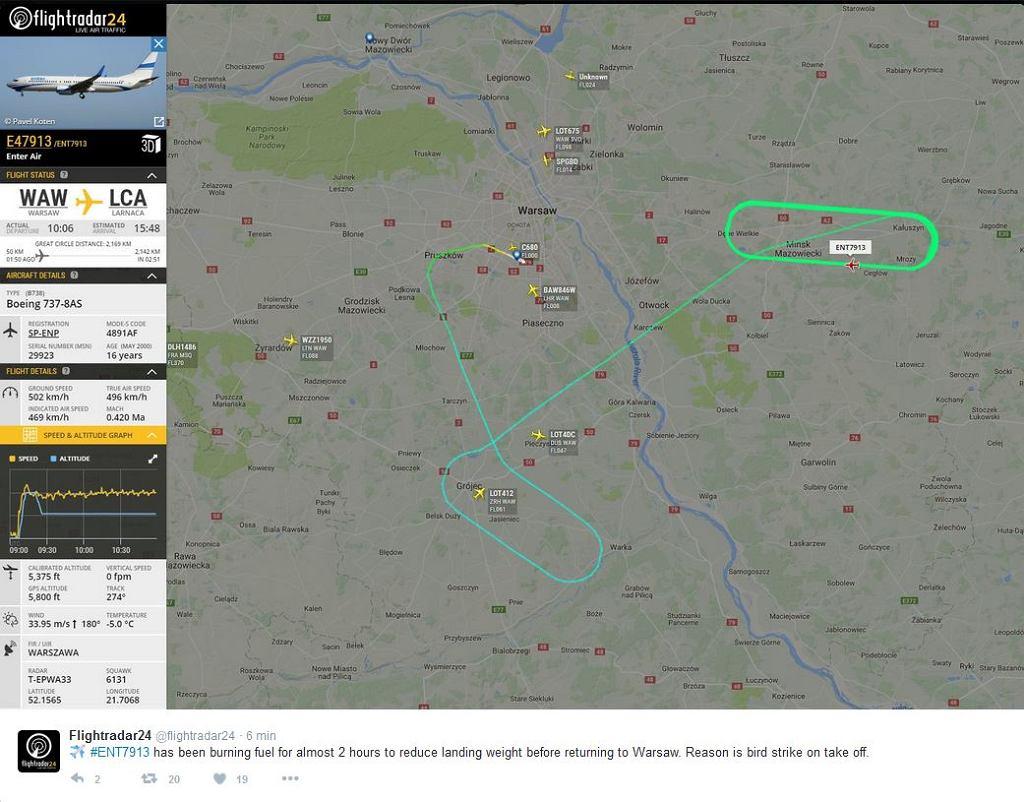 Boeing krąży nad Mińskiem Mazowieckim