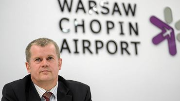 Prezes Polskich Portów Lotniczych Mariusz Szpikowski podczas konferencji prasowej na temat budowy CPK. Warszawa, 4 kwietnia 2018