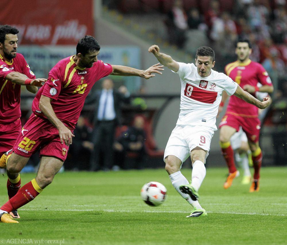 Robert Lewandowski w meczu z Czarnogórą w 2014 roku