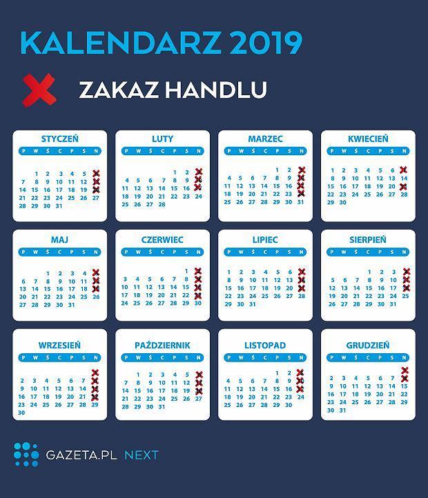 Niedziele handlowe 2019 - kalendarium