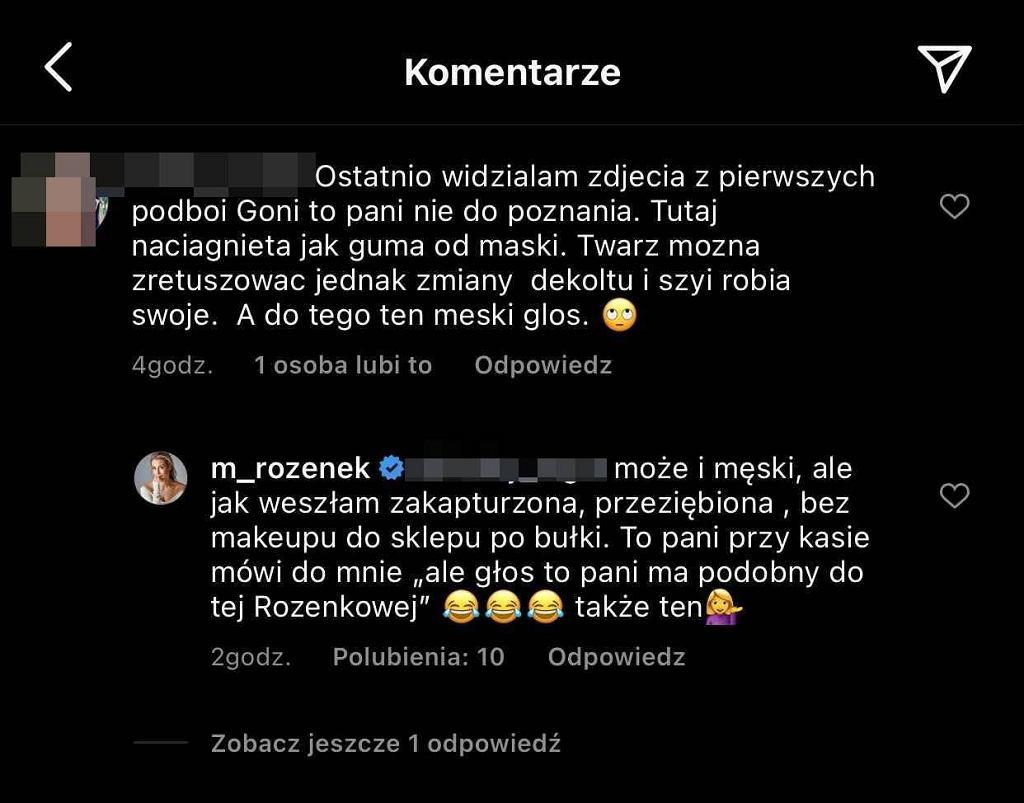 Rozenek reaguje na chamski komentarz internautki