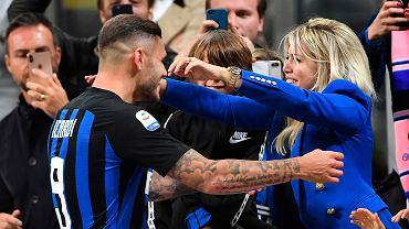 Mauro Emanuel Icardi i Wanda Nara po meczu Inter Mediolan - AC Milan,  21 października 2018.