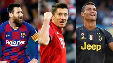 Lionel Messi, Robert Lewandowski y Cristiano Ronaldo