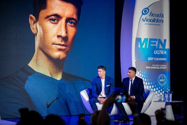 Robert Lewandowski podczas konferencji Head&Shoulders