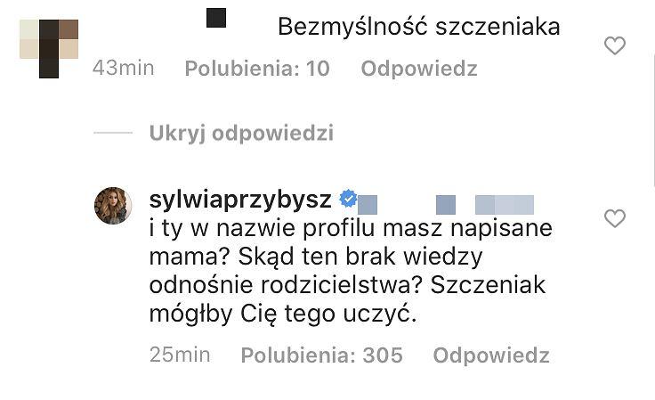 Sylwia Przybysz reaguje na komentarz