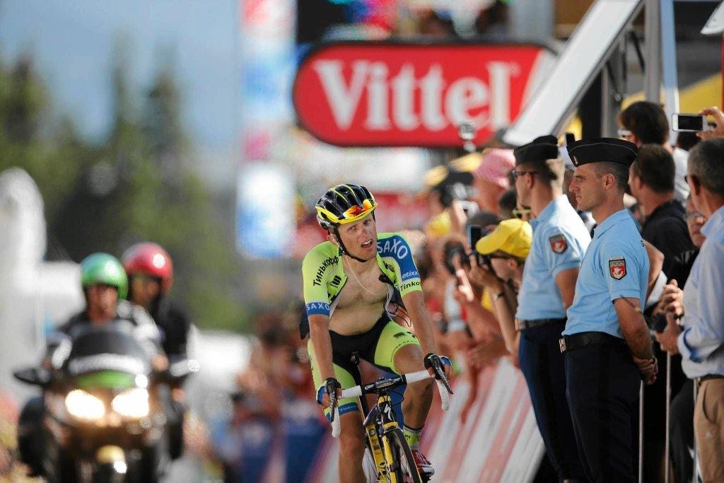 Rafał Majka na mecie 13. etapu Tour de France.