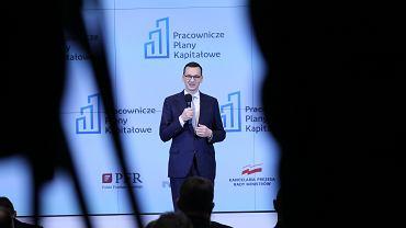 Premier rządu PiS Mateusz Morawiecki podczas konferencji prasowej dotyczącej PPK. Warszawa, 8 stycznia 2019