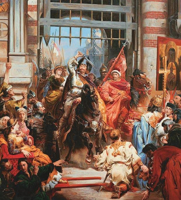 Bolesław Chrobry pokonał wojska ruskie nad Bugiem, a potem zdobył Kijów. Tak według Jana Matejki wyglądał jego wjazd do grodu. Według Galla Anonima książę dobył Szczerbca z pochwy i uderzył nim w słynną kijowską Złotą Bramę. Ale to wytwór fantazji kronikarza, bo została ona wzniesiona dopiero w 1037 r.