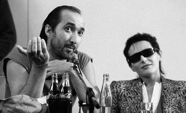 Kora i Marek Jackowski na konferencji prasowej zespołu Maanam