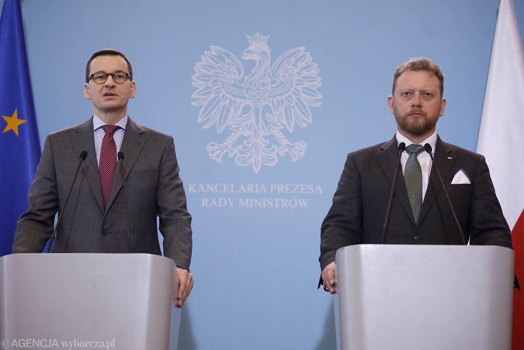 Konferencja prasowa premiera Mateusza Morawieckiego i ministra zdrowia Łukasza Szumowskiego ws. epidemii koronawirusa w Polsce