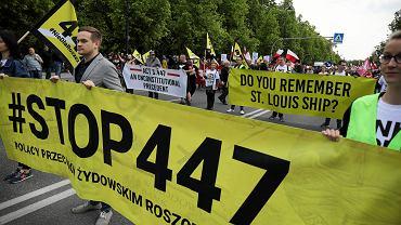 11.05.2019 r., Warszawa, marsz 'Stop 447' przeciwko amerykańskiej ustawie 447 dotyczącej zwrotu pożydowskiego mienia bezspadkowego.