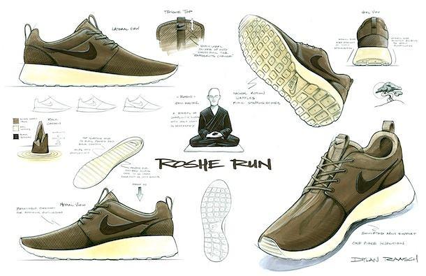 Oryginalny szkic Dylana Raascha, projekt Nike Roche Run