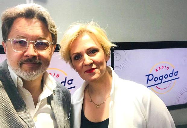 Michał Rusinek i Anna Stachowska w studiu Radia Pogoda