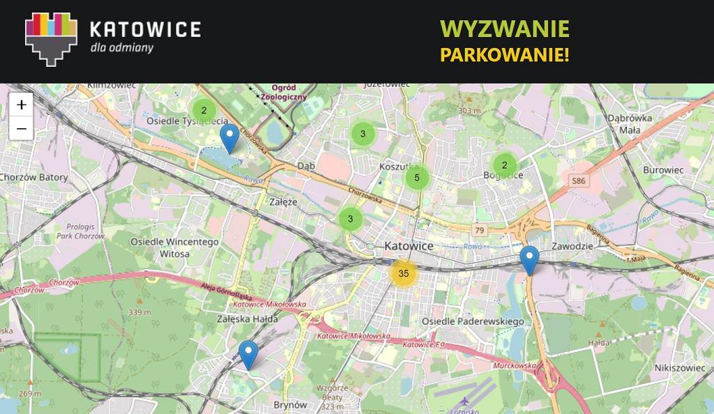 Fragment mapy Wyzwanie Parkowanie miasta Katowice