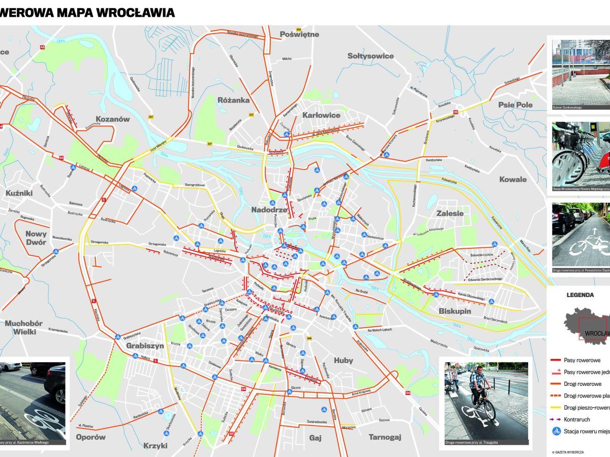 Wroclawianie Na Rowery Z Nasza Mapa Po Miescie Mapa Do Pobrania