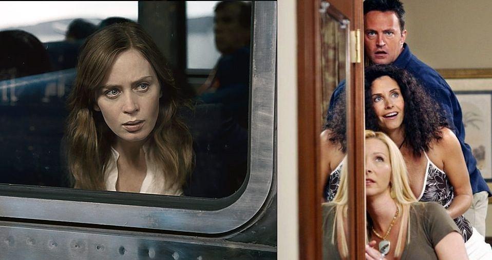 Emily Blunt w filmie Dziewczyna z Pociągu (z lewej), z prawej kadr z serialu