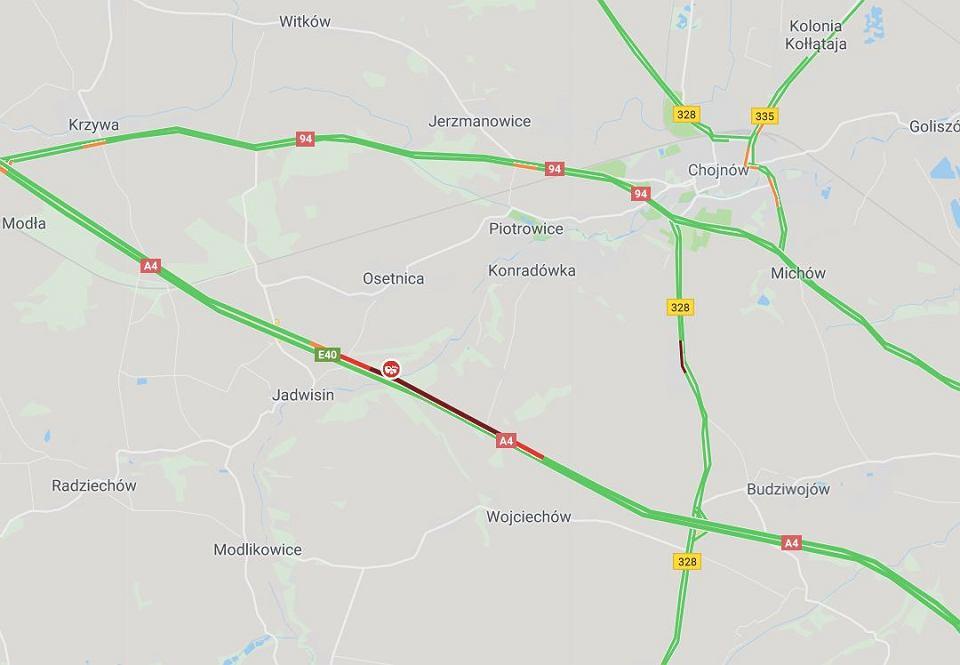 Wypadek na autostradzie A4 w pobliżu Chojnowa