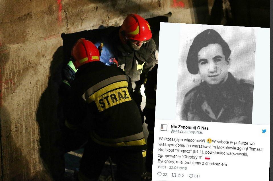 Powstaniec warszawski zginął w pożarze