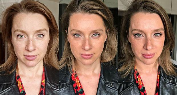 Od lewej: Makijaż wykonany przez osobę na zdjęciu, makijaż zrobiony przez Sylwię Rakowską (bez pomalowanych rzęs), efekt końcowy z pomalowanymi rzęsami.