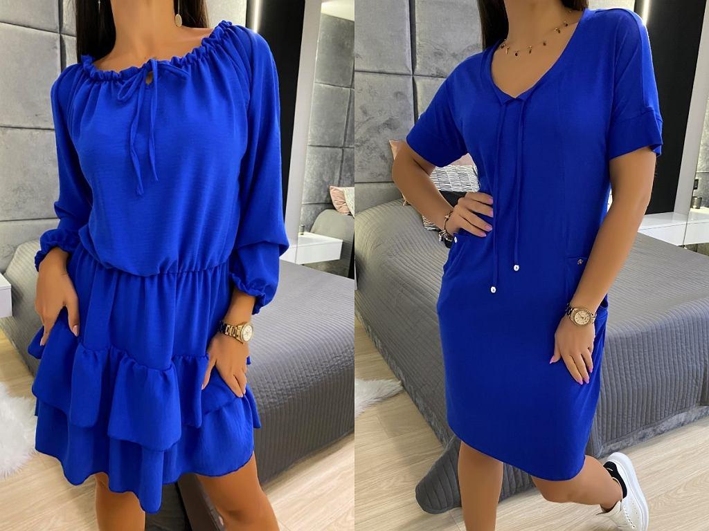 kobaltowe sukienki na co dzień