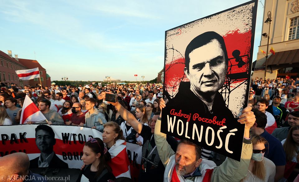 Transparent podczas spotkania Swietłany Cichanouskiej z mieszkańcami w Warszawie, 3 czerwca 2021r.