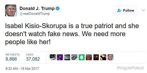 Wpis z fałszywego konta Donalda Trumpa