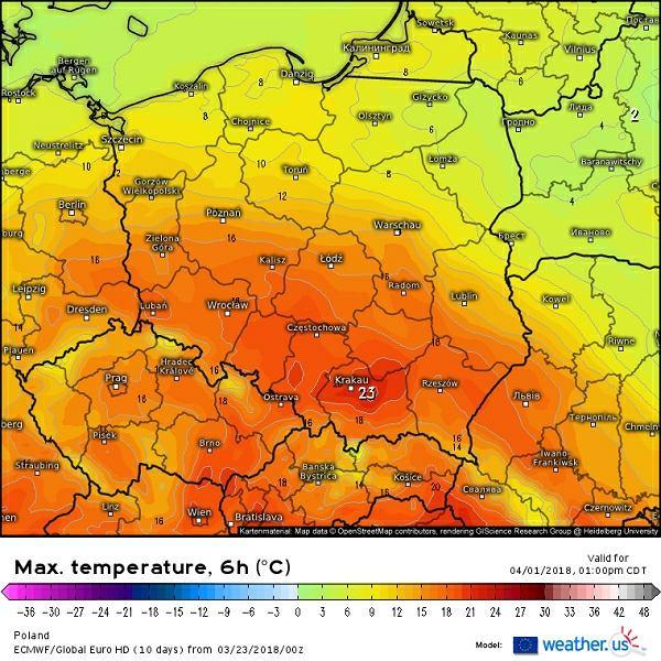 Temperatura maksymalna w niedzielę 1 kwietnia według modelu ECMWF (z piątku 23 marca)