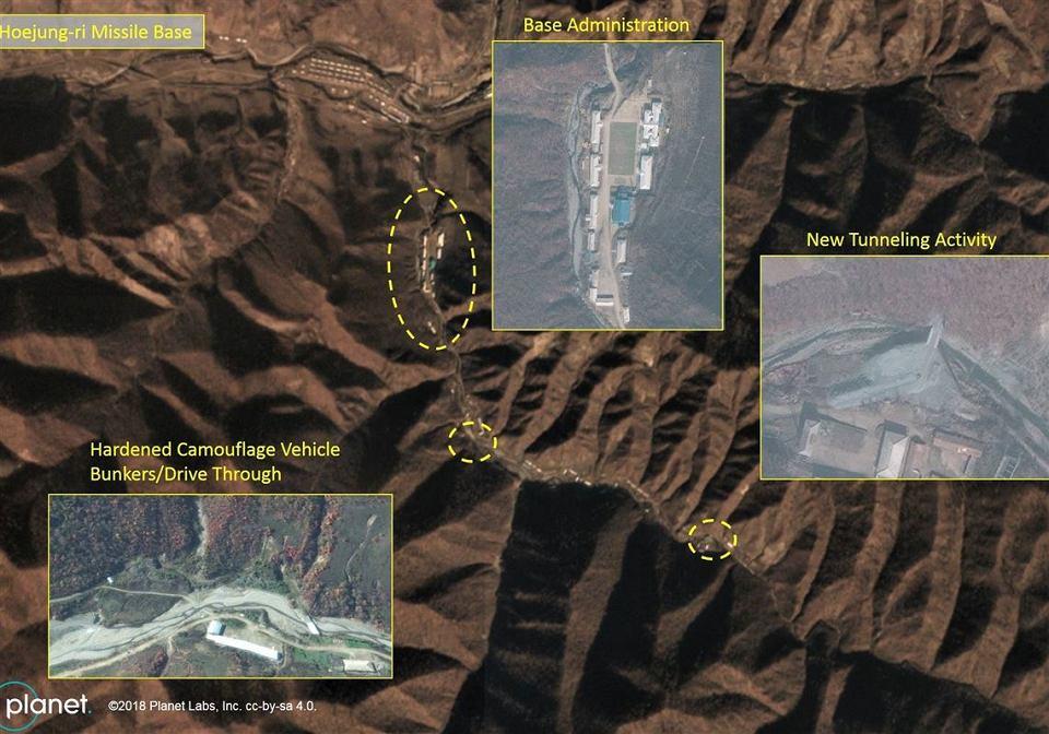 Nowa północnokoreańska baza rakietowa, obok niej widać 'starą' bazę balistyczną w Yeongjeo-dong, w której trwa szybka rozbudowa. Zdjęcia satelitarne z Instytutu Spraw Międzynarodowych Middlebury w Monterey.
