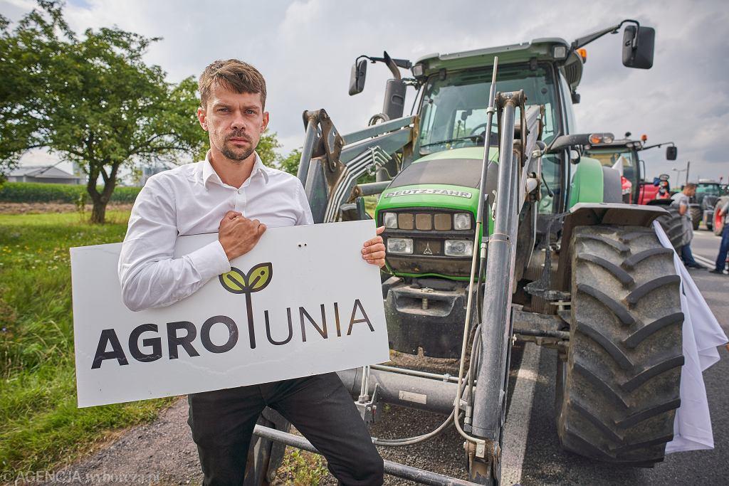 AGROunia, protest. Na zdjęciu lider: Michał Kołodziejczak