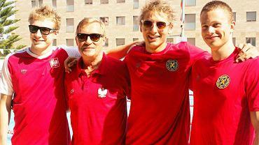 Paweł Furtek, Mirosław Drozd, Filip Zaborowski i Dawid Zieliński podczas MŚ w Barcelonie w 2013 r.