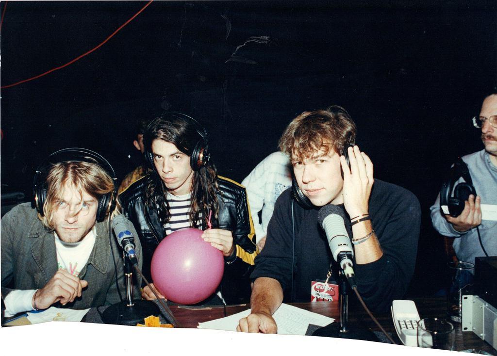 Kurt Cobain i Dave Ghrol w czasie wywiadu w 1991 roku