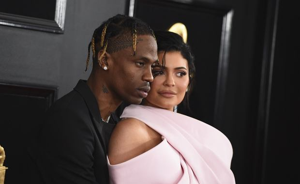 Travis Scott, left, and Kylie Jenner arrive at the 61st annual Grammy Awards at the Staples Center on Sunday, Feb. 10, 2019, in Los Angeles. (Photo by Jordan Strauss/Invision/AP)