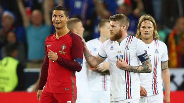 Cristiano Ronaldo i Aron Gunnarsson