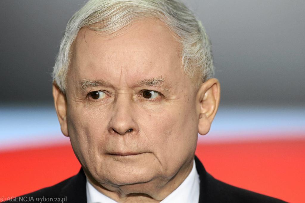 Jarosław Kaczyński podczas wystąpienia Liderów Zjednoczonej Prawicy