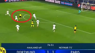 Petarda Erlinga Haalanda w meczu Borussia Dortmund - PSG w Lidze Mistrzów