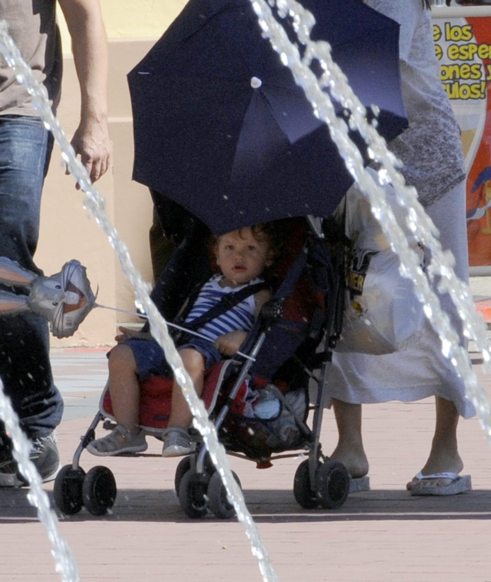 ***EXCLUSIVE***  Penelope Cruz, Javier Bardem and son Leo were at Warner Bross park in Madrid.  Reference: CP00002224