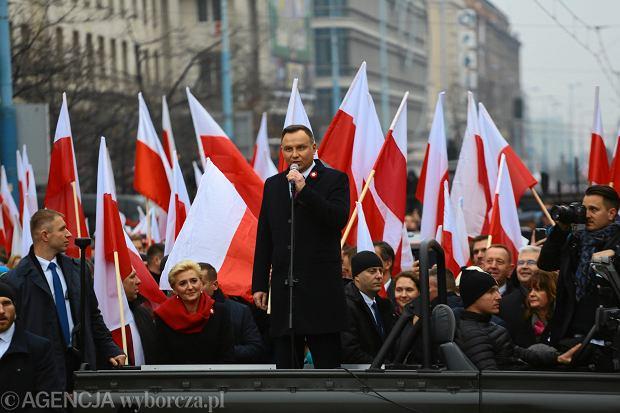 11.11.2018 Warszawa. Prezydent Andrzej Duda przemawia podczas obchodów Dnia Niepodleglosci