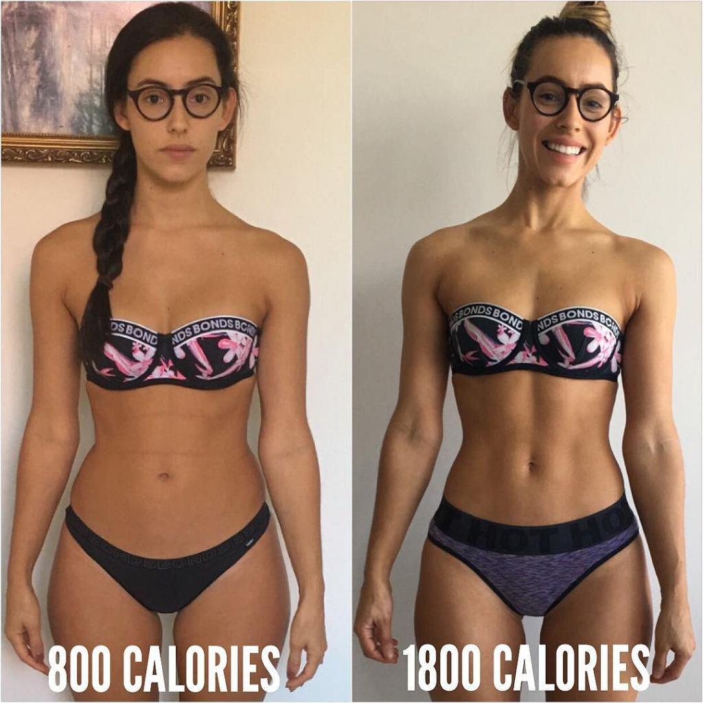 Zmiana diety sprawiła, że Madelin przybrała na masie mięśniowej (zdj. po prawej) i wygląda zachwycająco!