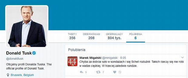 Tweet Marka Migalskiego polubiony przez Donalda Tuska