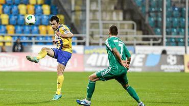 Krzysztof Sobieraj podczas meczu Miedź Arka w Pucharze Polski