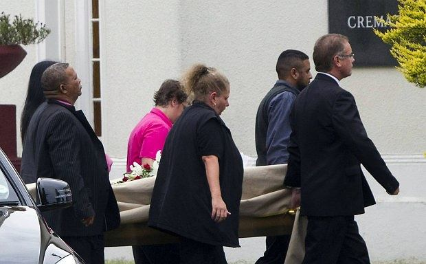 The body of model Reeva Steenkamp arrives at the Victoria Park Crematorium ahead of her memorial service in Port Elizabeth February 19, 2013. Her boyfriend Olympic and Paralympic athlete Oscar Pistorius has been charged with her murder. REUTERS/Rogan Ward (SOUTH AFRICA - Tags: CRIME LAW SPORT ATHLETICS)
