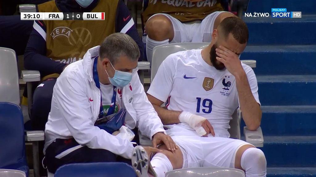 Karim Benzema w meczu z Bułgarią