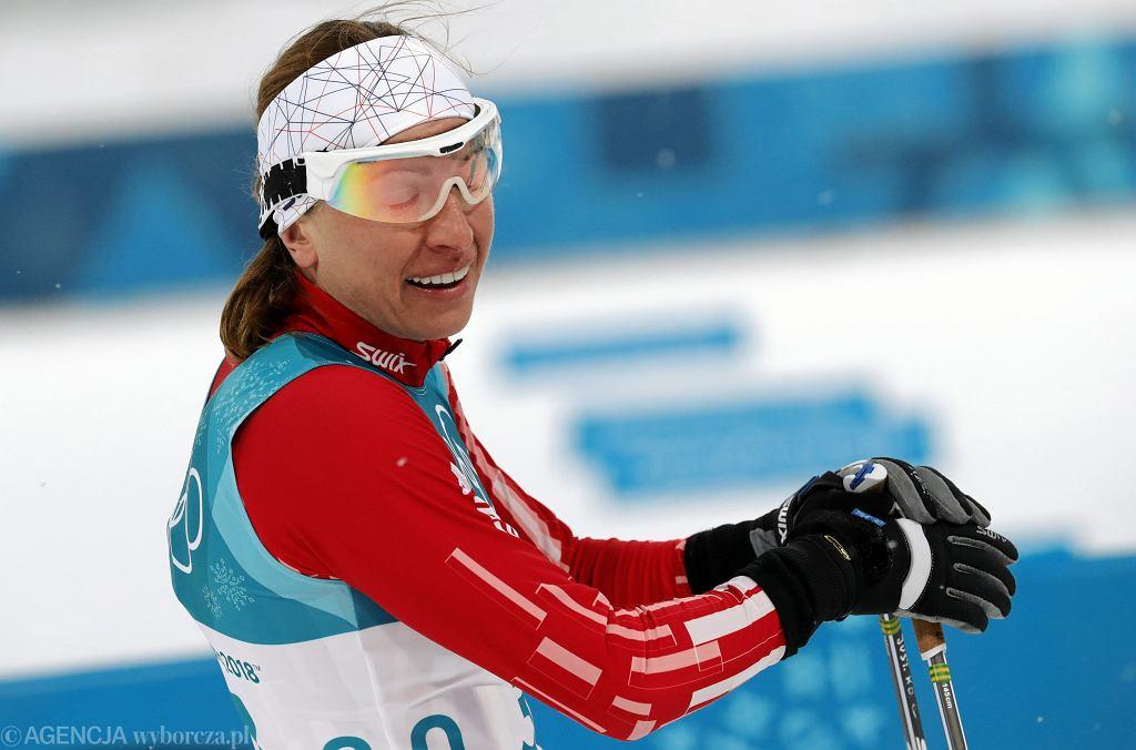 Justyna Kowalczyk na mecie eliminacji biegu sprinterskiego. XXIII Zimowe Igrzyska Olimpijskie Pjongczang 2018, 13 lutego 2018