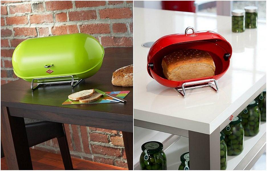 Designerskie, kolorowe chlebaki do kuchni łączą funkcję praktyczną i estetyczną.