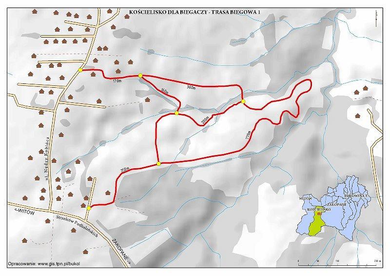 Mapa tras biegowych w Kościelisku