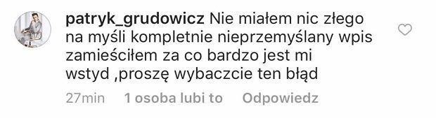 Przeprosiny Patryka Grudowicza